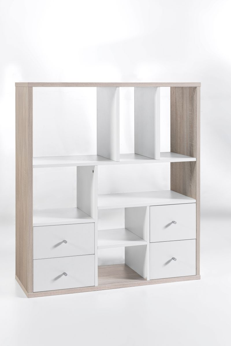 regal b cherregal raumteiler base 4 eiche sonoma weiss neu ovp ebay. Black Bedroom Furniture Sets. Home Design Ideas
