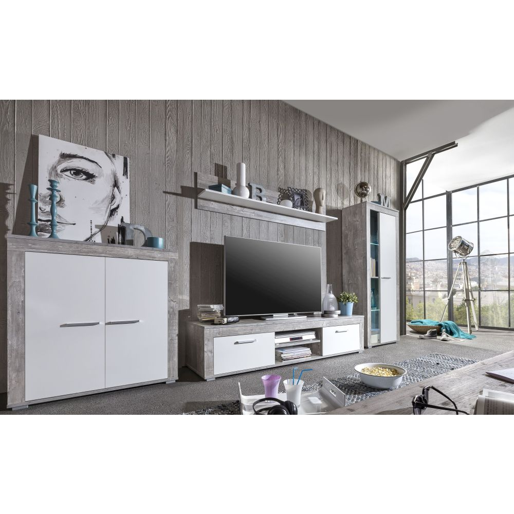 wohnwand aosta inkl beleuchtung beton weiss neu ovp ebay. Black Bedroom Furniture Sets. Home Design Ideas